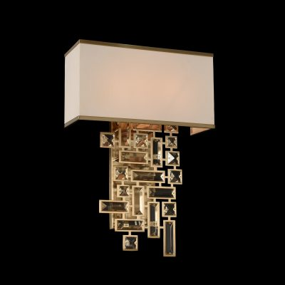 2 Light Gold Wall Sconce Linen Shade
